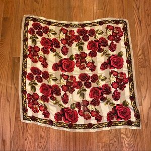 Ellen Tracy 100% Red Rose Silk Scarf